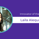 Purple background celebrates Laila Alequresh as Innovator of the Week