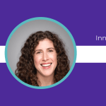 Purple background, circular headshot of  Leah Tivoli and text celebrating them as Innovator of the Week