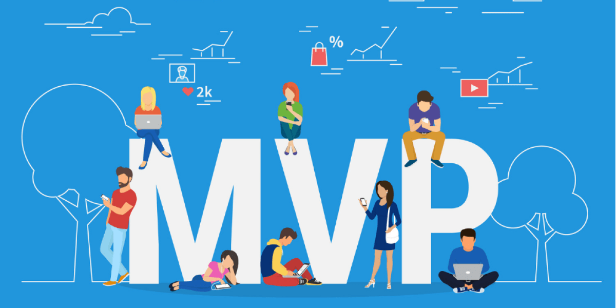 "Light blue background. In the middle of the image, there are bold white letters that read ""MVP"" for minimum viable product. On top of any around the letters are people working on their digital devices."